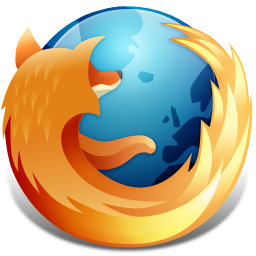 The Firefox logo: a flaming fox surrounding the Earth.